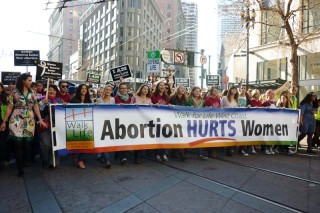Californians for Life Abortion Hurts Women Walk for Life Banner